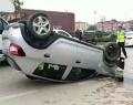 Bursa Ankara Karayolunda Araç Takla Attı
