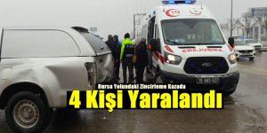 İnegöl´de Zincirleme Kaza; 4 Kişi Yaralandı